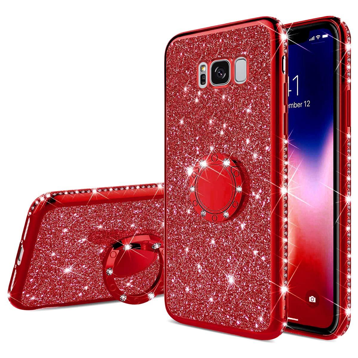Felfy Kompatibel mit Galaxy S8 H/ülle Glitzer Gl/änzend Luxus Strass Handyh/ülle mit 360 Grad Ring St/änder Halter Diamant Schutzh/ülle Weich Silikon TPU Bumper Case Cover f/ür M/ädchen,Schwarz