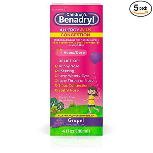 Benadryl Children's Allergy plus Congestion Liquid Grape Flavored - 4 oz, Pack of 5