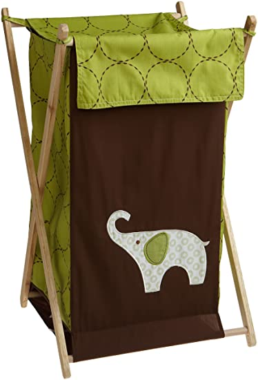 "Carters Green Elephant Hamper, Green/Choc, 17 X 16 X 27"" ("