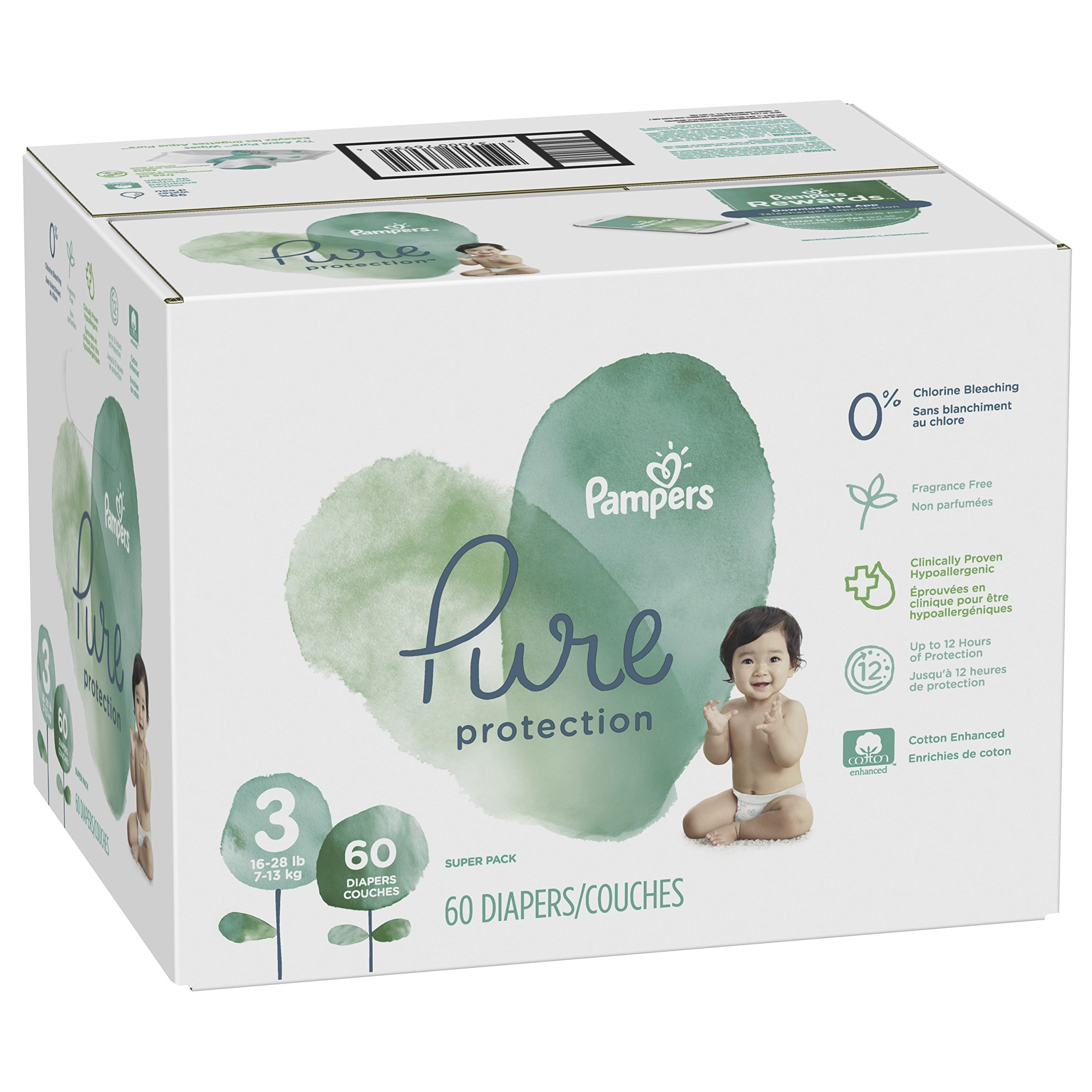 Pampers Pure Protection Disposable Diapers, Size 3, 60 Count