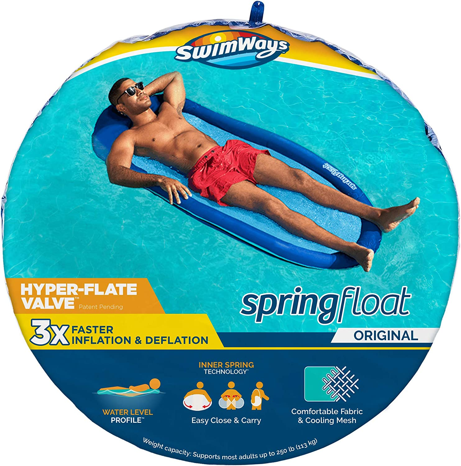 """SwimWays Spring Float Inflatable Pool Lounger with Hyper-Flate Valve, Blue, 69""""L x 35""""W x 5.5""""H"""