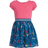 NAUTICA Girls Girls' Short Sleeve Floral Dress Cap Sleeve Casual Dress - Pink - XL16