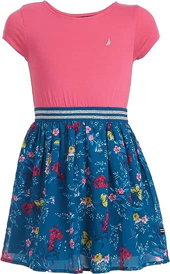NAUTICA Girls Girls' Short Sleeve Floral Dress Cap Sleeve Casual Dress - Pink - XL16
