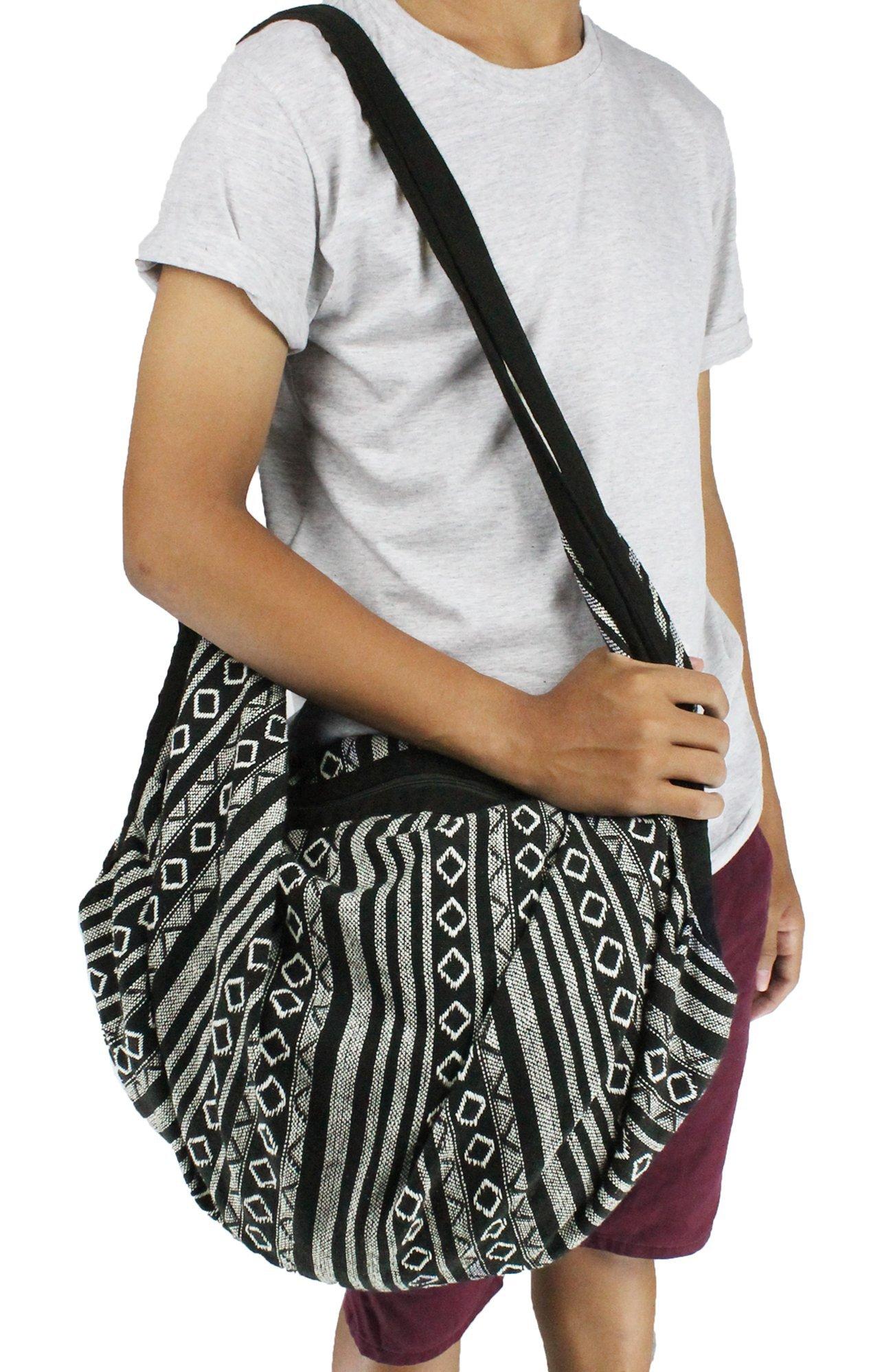 Thai Bag Tribal Bag Hmong Bag Boho Bag Striped Bag Ethnic Striped Thai Cotton Boho Sling Tribal Crossbody Bag Backpack Shoulder Bag Thai Pattern Bag Thai Top Zip Handmade Asia Bag (Stripe Black2)