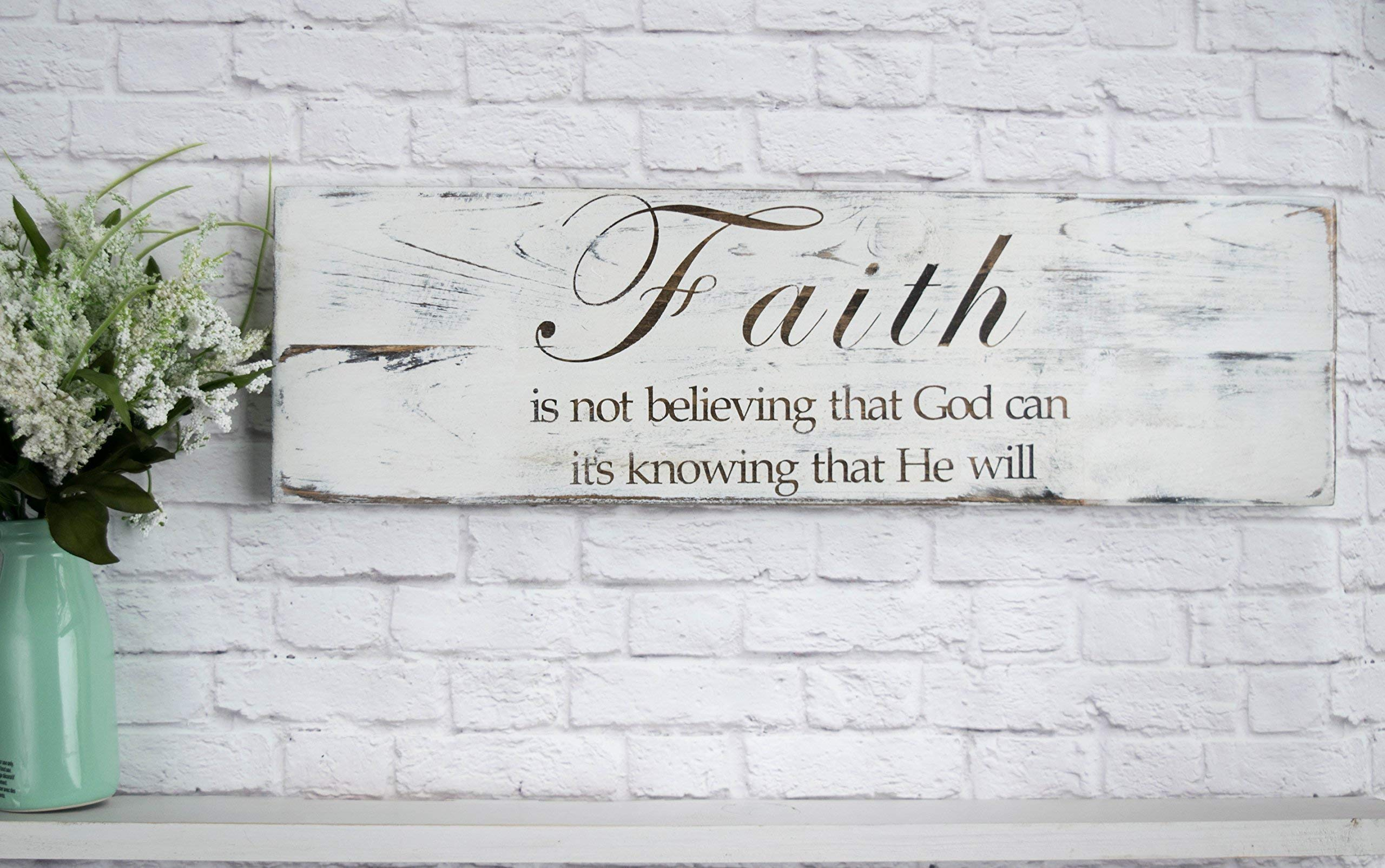 Hand Painted Wood Sign – Bible Verse Wall Art – Wood Home Wall Décor – Wood Sign Sayings – Faith Sign - White Distressed
