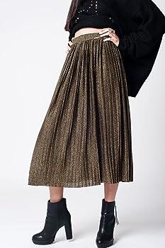 Q2 Mujer Falda Plisada Negra con Lurex - S: Amazon.es: Ropa y ...