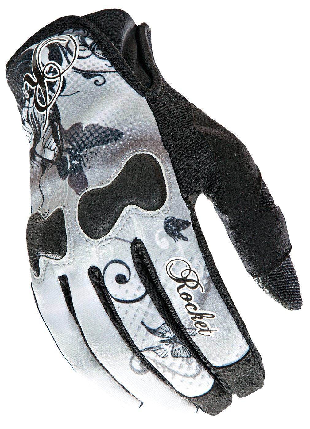 Joe Rocket Nation Women White/Black Textile Motorcycle Gloves - Large