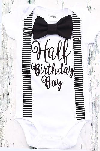 761a85398 Amazon.com: Boy 6 Months birthday Outfit half birthday black Outfit birthday  boy black and white half birthday outfit birthday birthday family shirts:  ...