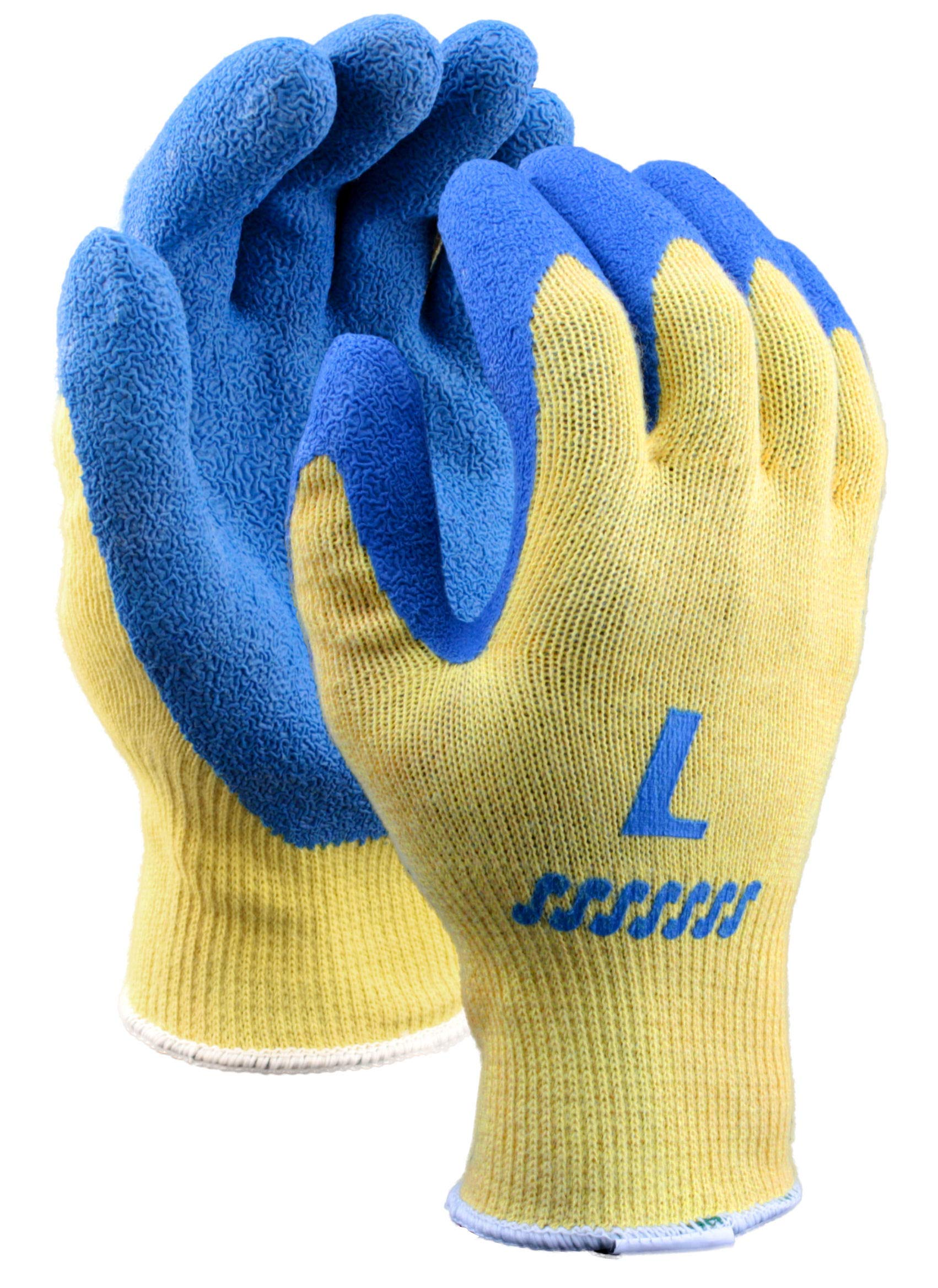 Stauffer Kevlar Glove with Blue Crinkle Rubber Coating, Cut Level A2, Large, (Pack of 12) by Stauffer Glove & Safety (Image #1)