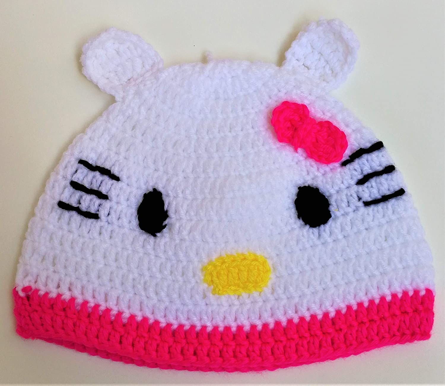Amazoncom Cute Hello Kitty Girls Hat Crocheted Adorable Hello