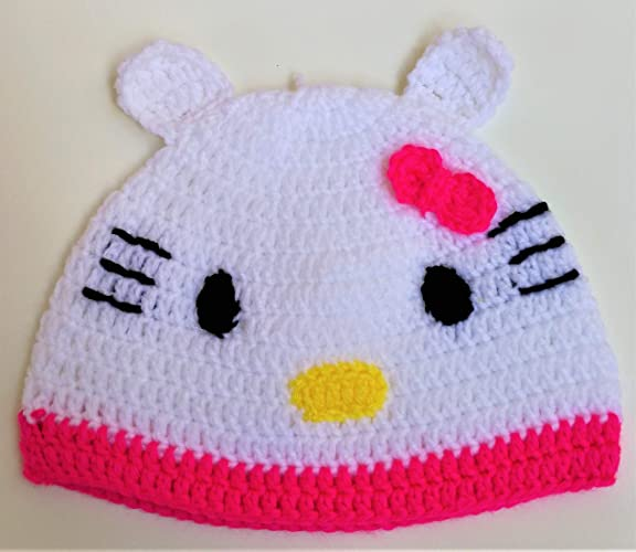 Amazon Com Cute Hello Kitty Girls Hat Crocheted Adorable Hello