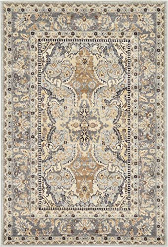 Unique Loom Tradition Collection Classic Southwestern Silver Area Rug 4 0 x 6 0