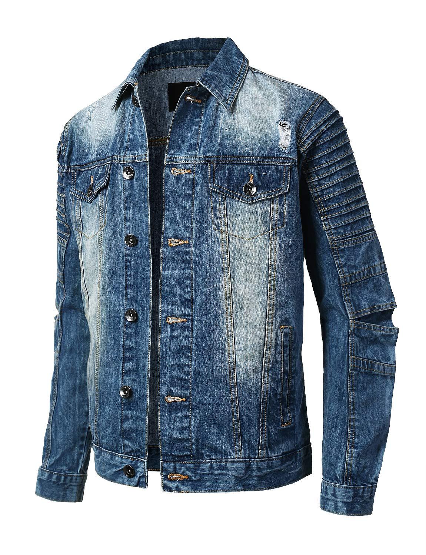URBANCREWS Mens Hipster Button Down Long Sleeve Biker Denim Jacket Medium Blue-L by URBANCREWS