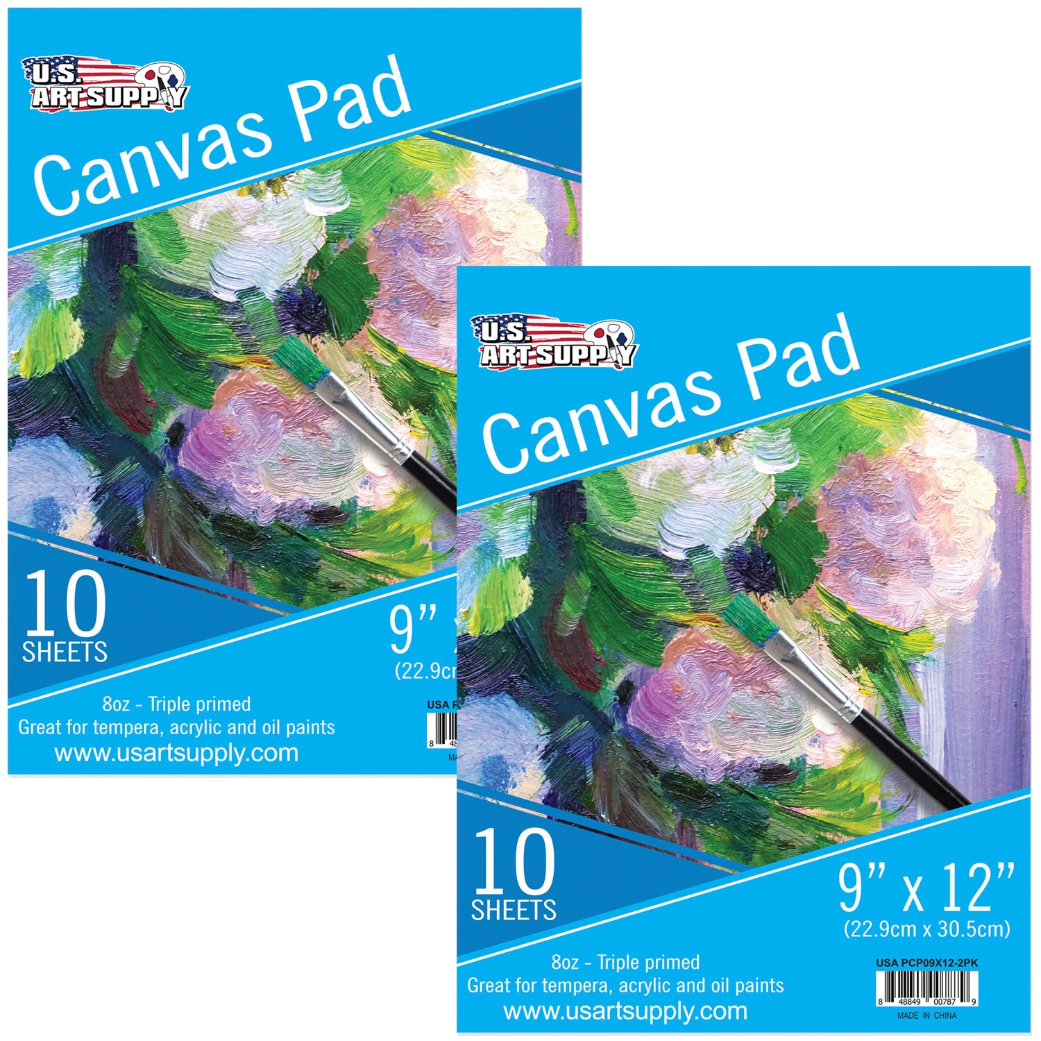 U.S. Art Supply 9'' x 12'' 10-Sheet 8-Ounce Triple Primed Acid-Free Canvas Paper Pad (Pack of 2 Pads) by US Art Supply