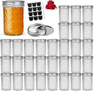 LovoIn 8oz 30 PACK Regular Mouth Mini Mason Jars with Lids and Bands, Quilted Crystal Jars Ideal for Food Storage, Jam, Body Butters, Jelly, Wedding Favors, Baby Foods