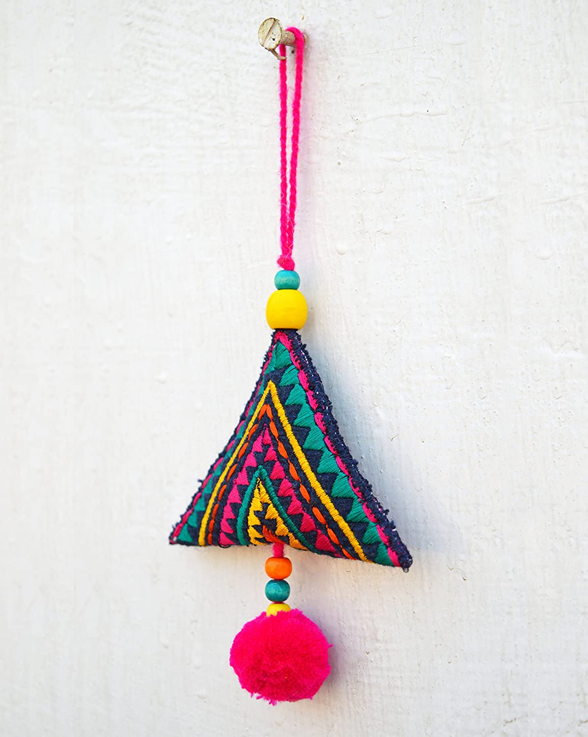 VLiving Multicolor triangle tassel, handmade, boho bag charm, tribal, bohemian, moroccan size 6