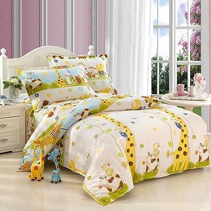 MeMoreCool Home Textile Kids Environmental Reactive Printing 100% Cotton 3  Pieces Giraffe Bedding Set Cute
