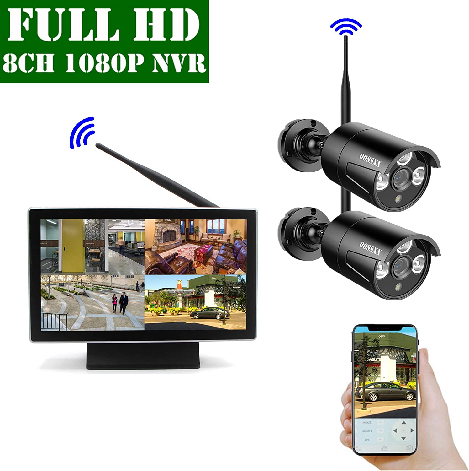 2019 Update 10 inch Screen HD 1080P 8-Channel Outdoor Wireless Security Camera System,2pcs 1080P Wireless IP67 Weatherproof IP Cameras,70FT Night Vision,P2P,App, NO Hard Drive