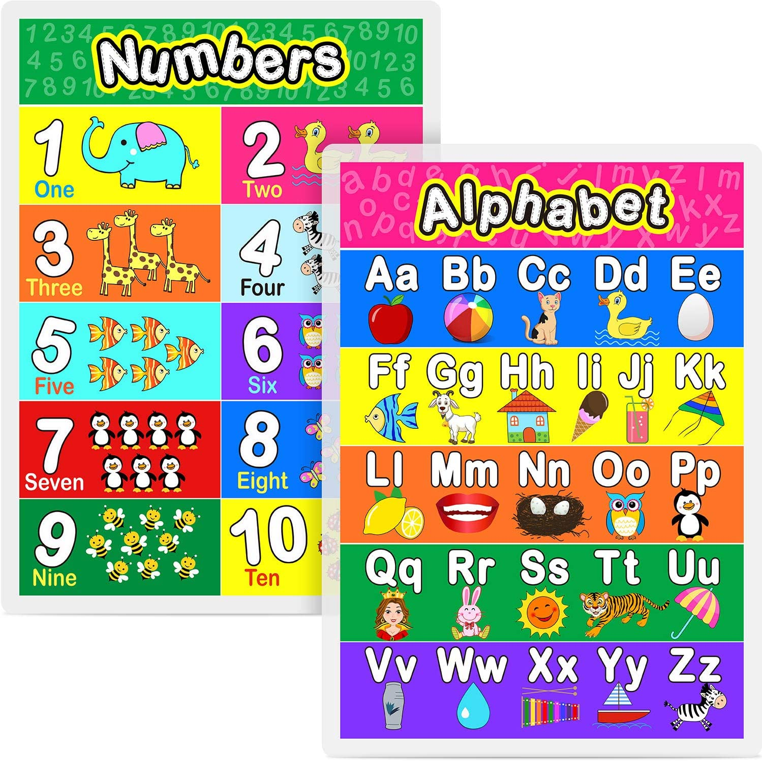 Laminated Preschool Poster for Toddlers and Kids, 2 Pieces Full Laminated Posters Alphabet, Number 1-10 for Nursery Homeschool Kindergarten Classroom, 16.9 x 11.9 Inch