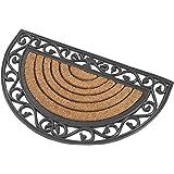 Halbrunde premium Fußmatte aus Gummi und Kokosfasern, 76 x 46 cm   ✓ 3 kg Fußabtreter verhindert verrutschen ✓ Robuste & repräsentative Schmutzfangmatte, Sauberlaufmatte, Schmutzmatte ✓ Fußabstreifer für Eingangsbereich von Haus und Wohnung