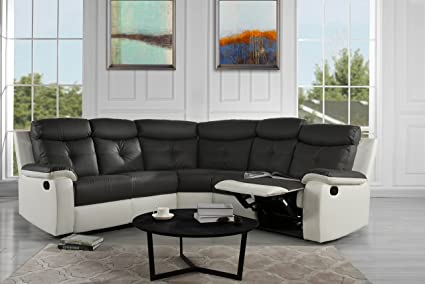 Large Classic And Traditional Bonded Leather Reclining Corner Sectional Sofa  For Big Families (White/