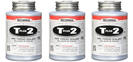 Rectorseal 23631 1/4 Pint Brush Top T Plus 2 Pipe Thread Sealant