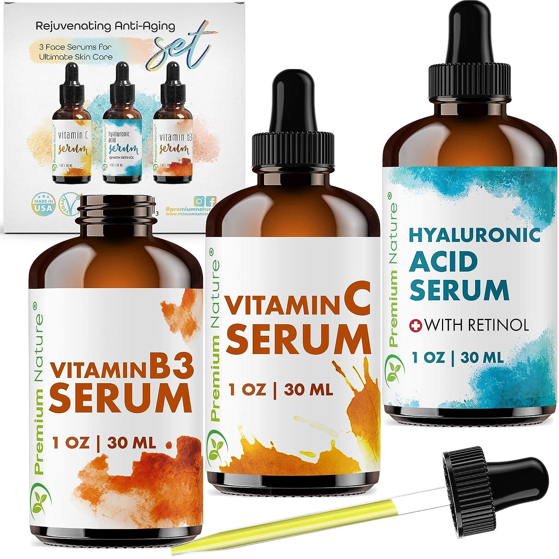 Premium Nature Facial Serum Set Facial Treatment - Natural Skincare Set 3 Pieces Pack Hyaluronic Acid with Retinol & Vitamin C Serum & Vitamin B3 Serum Oil Skin Serums for Jade Roller