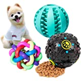 Petsvv 3 Packs Interactive Dog Treat Dispensing Toys - Rubber Indestructible IQ Treat Ball with Squeaker for Puppy and Small Medium Dogs Tooth Cleaning/Chewing