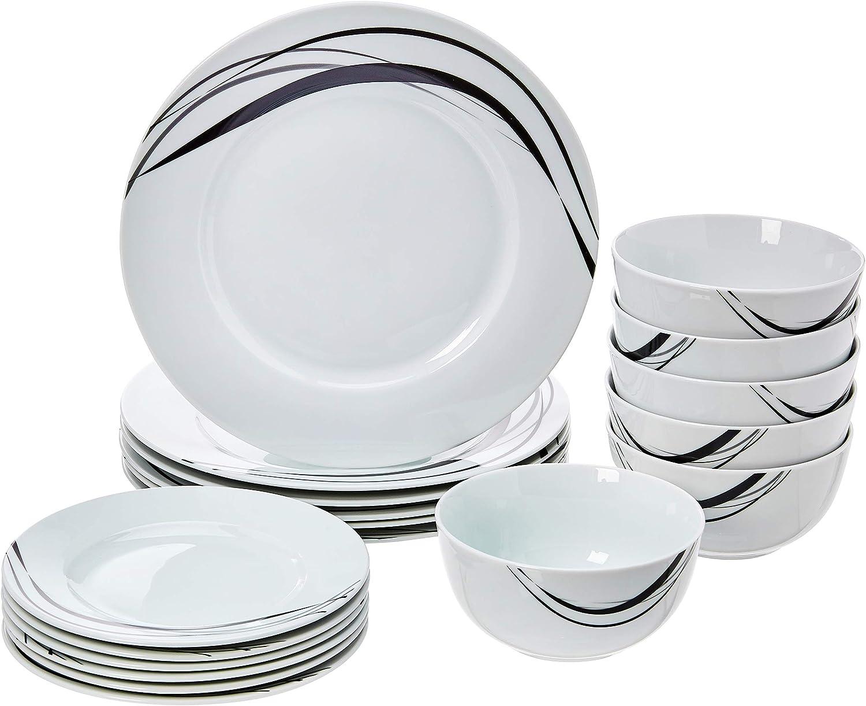 pour 6/personnes Cottage Basics Service de table 18/pi/èces