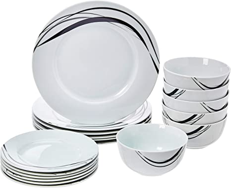 Amazonbasics 18 Piece Kitchen Dinnerware Set Dishes Bowls Service For 6 Half Moon Amazon Ca Home