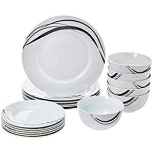 AmazonBasics 18-Piece Dinnerware Set - Half Moon, Service for 6