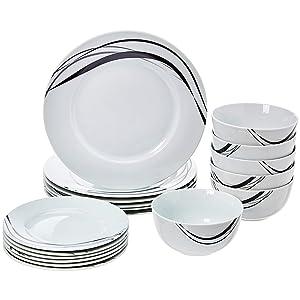 AmazonBasics 18-Piece Dinnerware Set - Half Moon, Service for 6