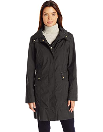 7193b4b29bac Cole Haan Women s Single Breasted Packable Rain Jacket with Removable Hood