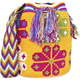 Hand Woven Shoulder Bucket Bag, Wayuu Mochila, Cotton, Summer Fashion