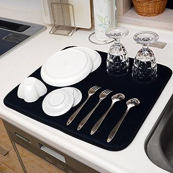Amazon | QLIBO 食器 水切りマット キッチン用 吸水 速乾 抗菌素材 ...