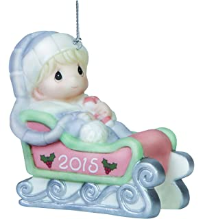Amazoncom Hallmark 2015  Babys First Christmas Ornament Block