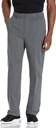 Haggar Men's Free No Iron Classic Fit Flat Front Full Elastic Pant