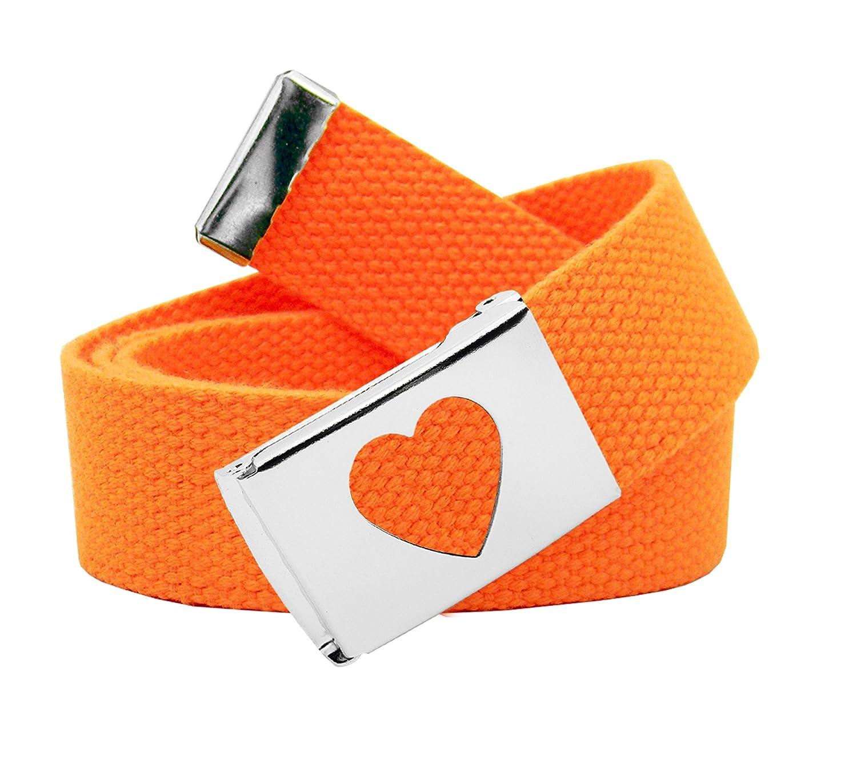 Girls School Uniform Silver Flip Top Heart Belt Buckle with Canvas Web Belt 5201G-$P