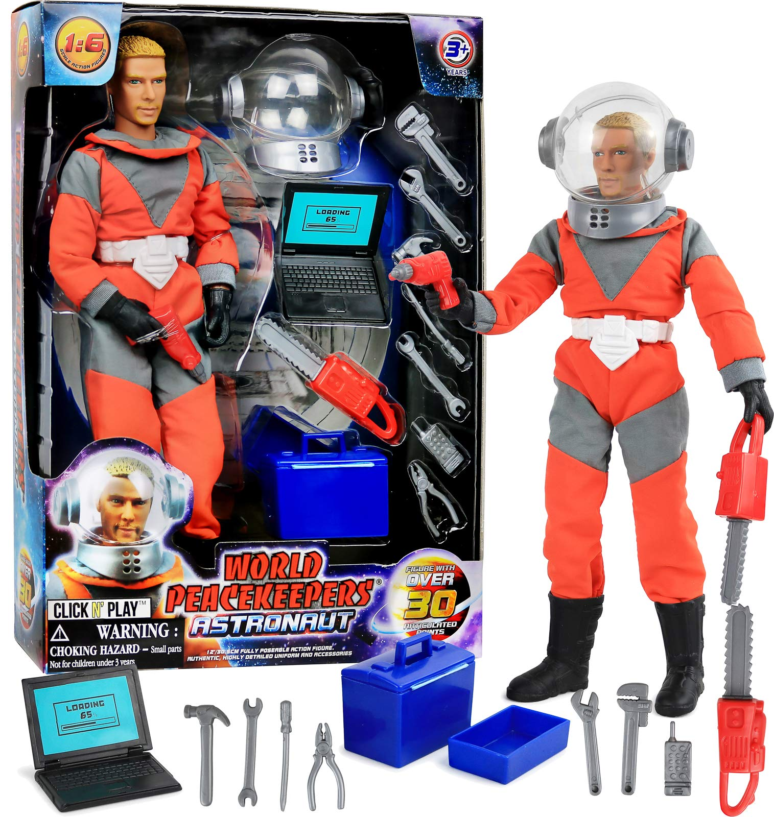 Click N' Play 12'' Astronaut Action Figure Space Exploration Playset with Accessories.