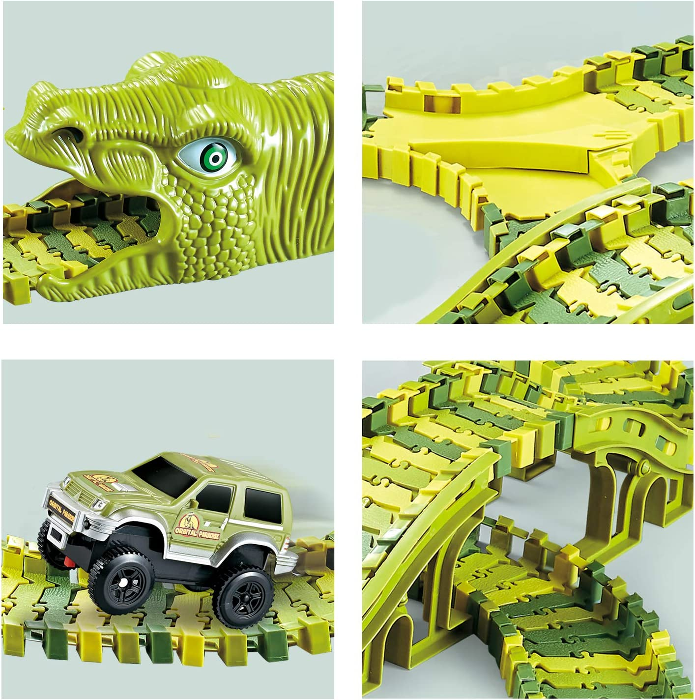 Best Gift Toy for Kids Boys Girls 2 Dinosaur Head 2 Cars and Bucket Dinosaur Car Race Track Toy with 250 Flexible Trains Tracks burgmate Dinosaur Toys Race Track Toy Set 271 Pcs
