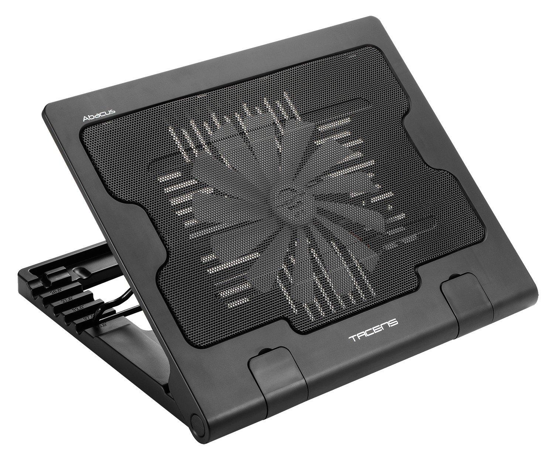 Tacens 4ABACUS - Base de refrigeración para portátil (ventilador de 18 cm, 17 pulgadas, 2 puertos USB 2.0, ergonómico) color negro ajustable buena calidad cooling