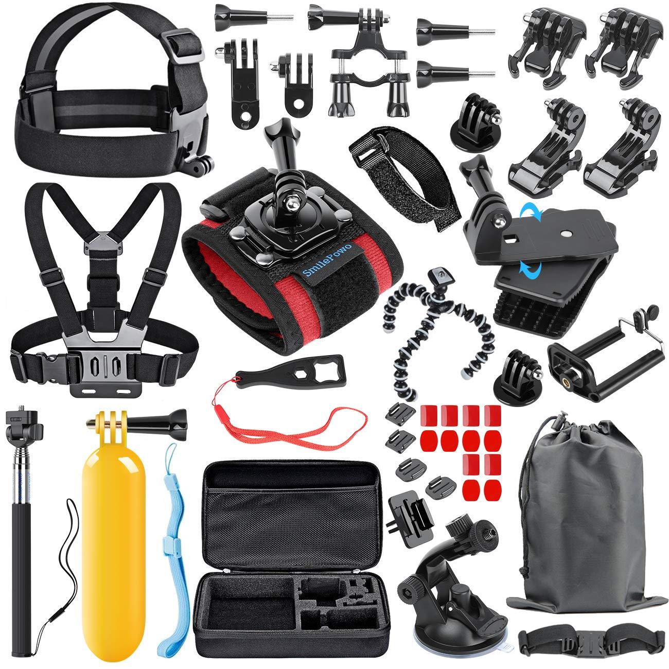 SmilePowo Accessory Kit for GoPro Hero 7,6,5 Black, Hero 2018,Hero Session,5,4,3,GoPro Fusion, SJCAN,XIAOMI,AKASO/APEMAN/ DBPOWER,Lightdow,Campark,Action Camera Accessory Kit,Chest Strap,Float Handle