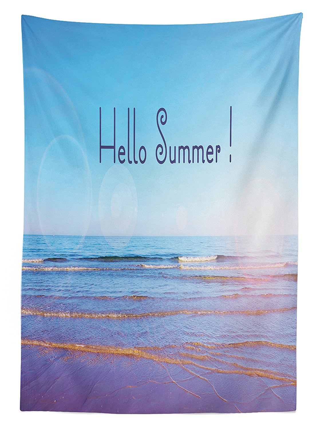 Summer Decor Tablecloth Hello Summer Text Over Wide Seaside Sandy Sunbeams August Holiday Seascape Picture Dining Room Kitchen Rectangular Table Cover