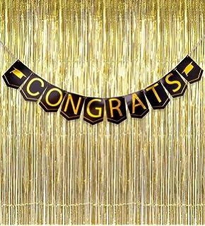 2018 Graduation Banner Decorations Congrats Grad   Black Gold Foil Metallic  Fringe Curtains Party Supplies