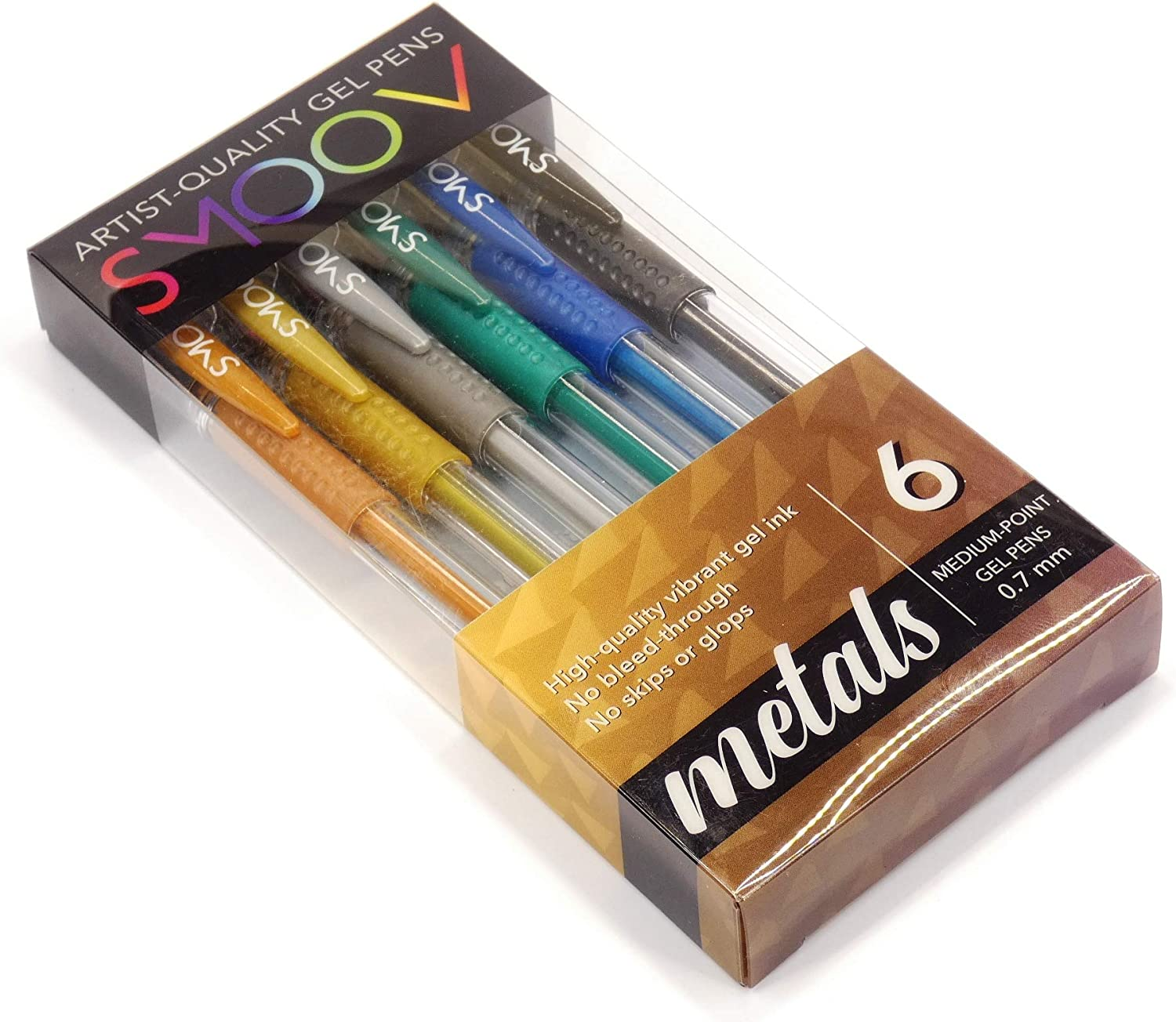 | Perfect for Adult Coloring NO REPEATS | Non-toxic Gel Ink no glopping or skipping Journals /& Bible Study 6 Unique Rich Metallic Colors METALS 6-Pack from SMOOV Upgraded Artist-quality Tips