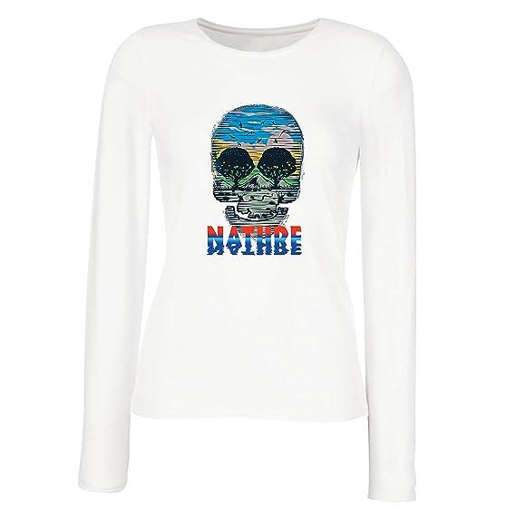 Camisetas de Manga Larga para Mujer el Cráneo de la Naturaleza - Salva el Planeta, Ayuda a la Fauna: Amazon.es: Ropa y accesorios