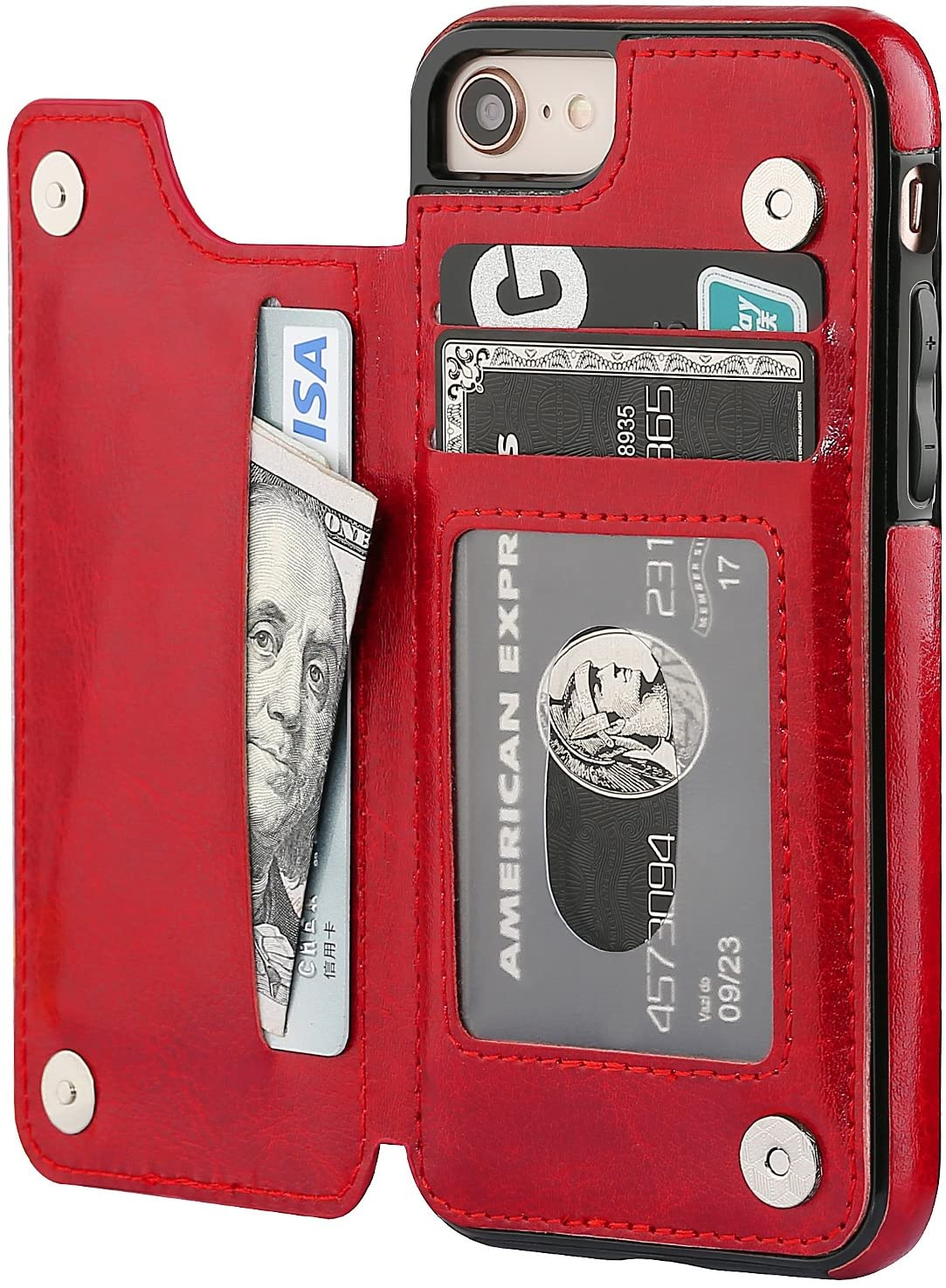 OT ONETOP iPhone 8 Wallet Case with Card Holder, iPhone 7 Case iPhone SE(2020) Wallet Premium PU Leather Kickstand Card Slots,Double Magnetic Clasp and Durable Shockproof Cover 4.7 Inch(Red)