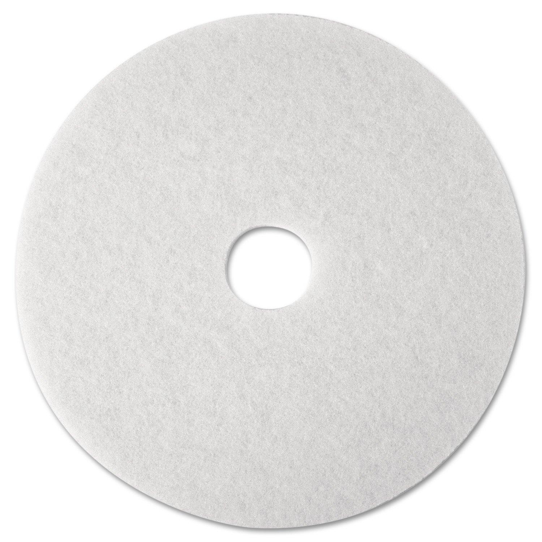 3M 08476 Super Polish Floor Pad 4100, 12'' Diameter, White (Case of 5)