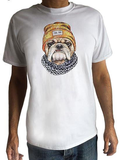 Men s White Top  Cool Dog  Pug Hat   Scarf Cute Pug Print TS880 ... e2f4cbfbb6a