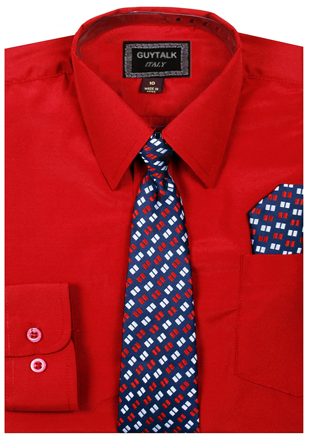 Boys Dress Shirt With Matching Tie (5 Colors, Size 8-18) BOGU066-$P